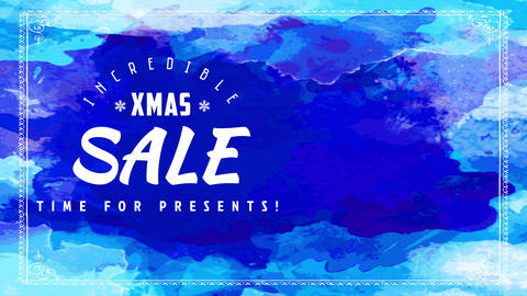 fabulous xmas selling decrease event advertisement with different shades of blue background splashed Animation