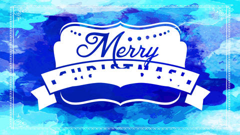 merry christmas greeting card with fun white insignia with winter decoration over various shades of Animation