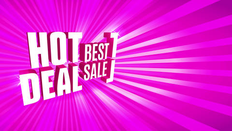 best trading hot deal advertising with 3d offset placed in perpendicular way over impressive pink Animation