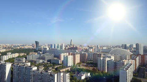 Extensive panoramic top view of residential buildings, modern buildings in the Live Action