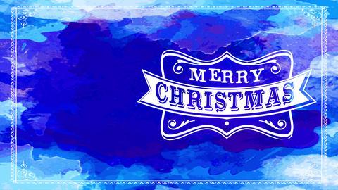 merry xmas greeting cardboard with blue watercolour background presenting white wilderness western Animation