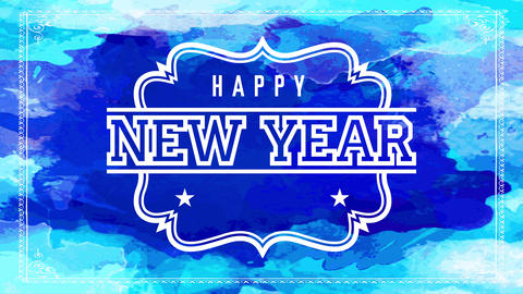 happy new year night party invitation with old fashion typography on white icon over blue watercolor Animation