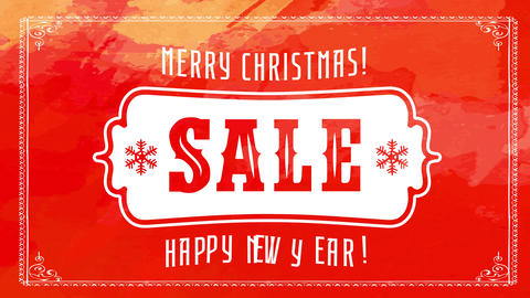 christmas and new years winter season sale with wild west icon over red watercolor background Animation