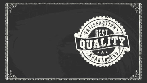 best quality satisfaction secured sign with white filth chalk oval icon over chalkboard for knit Animation