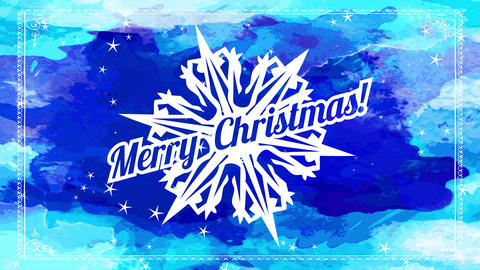 merry christmas written on top of white deep outlined flake over blue watercolor splatter on scene Animation