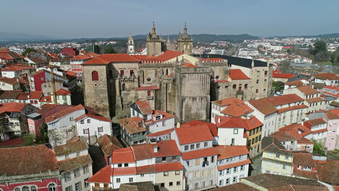 Aerial view of historic town Viseu in Portugal Live Action