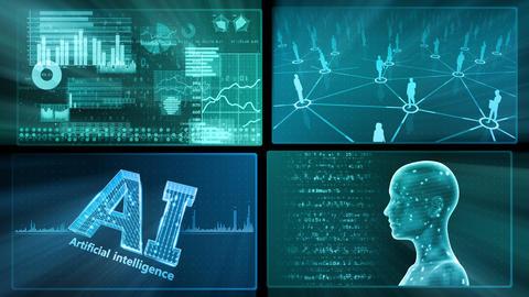 Digital Network Technology AI artificial intelligence data concepts Background D 1 2x2 E blue Fix Animation