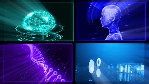 Digital Network Technology AI artificial intelligence data concepts Background D 1 2x2 J blue Fix Animation