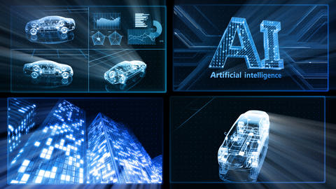 Digital Network Technology AI artificial intelligence data concepts Background D 1 2x2 L blue Fix Animation
