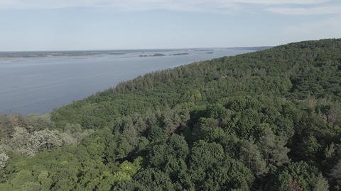 Dnipro River. Aerial view. Landmark of Ukraine, flat, gray Live Action