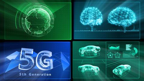 Digital Network Technology AI artificial intelligence data concepts Background D 1 2x2 Q blue Fix Animation