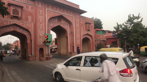 Jaipur, India - November 03, 2019: transport passes through city gates Live Action