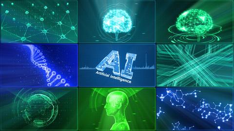 Digital Network Technology AI artificial intelligence data concepts Background D 1 3x3 E blue Fix CG動画