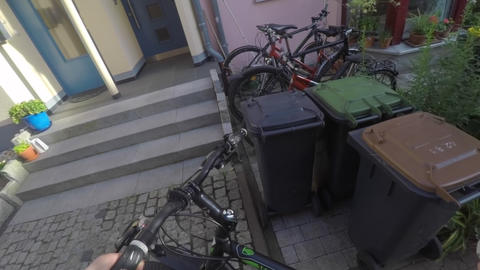 First Person Point of View of Person on a Bicycle visiting a friend parking Live Action