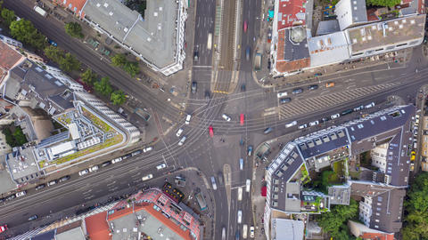 AERIAL: Beautiful Daylight Drone Hyper Lapse, Motion Time Lapse above Berlin Live Action