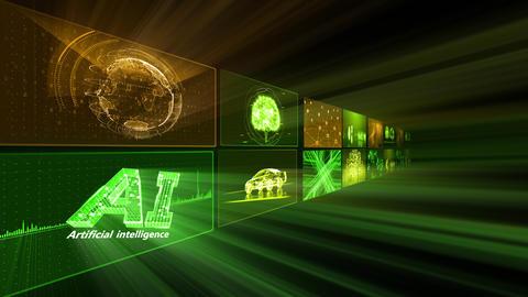 Digital Network Technology AI artificial intelligence data concepts Background D Tate B1 2x2 Fix CG動画