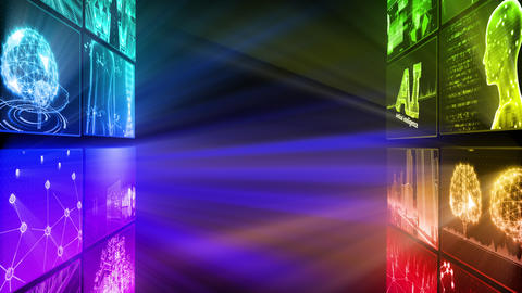 Digital Network Technology AI artificial intelligence data concepts Background D Tate D1 2x2 rainbow CG動画