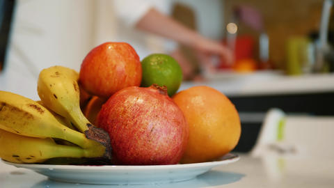 Plate of fresh and healthy organic fruits Live Action