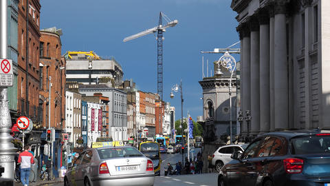 View of Dame Street in Dublin downtown Live Action