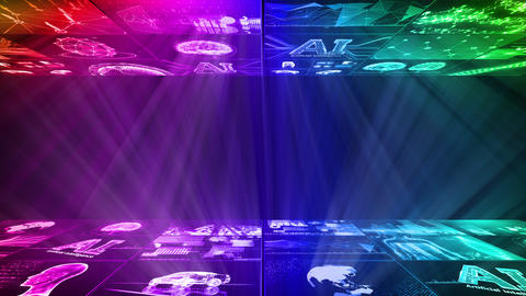Digital Network Technology AI artificial intelligence data concepts Background D Yoko D1 3x3 rainbow Animation