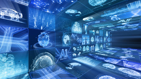 Digital Network Technology AI artificial intelligence data concepts Background D Yo-Ta B1 3x3 Move CG動画