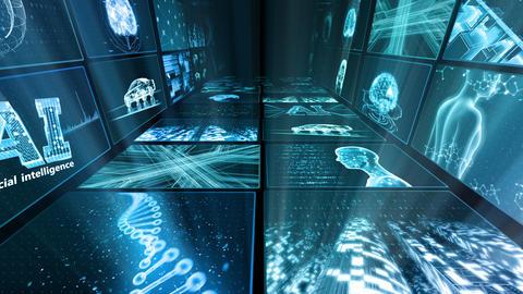 Digital Network Technology AI artificial intelligence data concepts Background D Yo-Ta C1 2x2 Fix CG動画