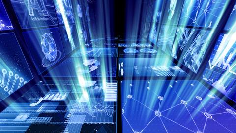 Digital Network Technology AI artificial intelligence data concepts Background D Yo-Ta C1 2x2 Move CG動画