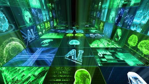 Digital Network Technology AI artificial intelligence data concepts Background D Yo-Ta C1 3x3 Move Animation