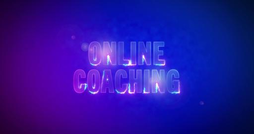 Online Coaching. Electric lightning words. Logotype Animation
