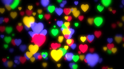 Colorful Bokeh Hearts CG動画