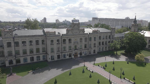 Kyiv. Ukraine. Kyiv Polytechnic Institute. Aerial view. Flat, gray Live Action