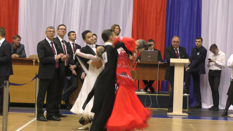Orenburg, Russia - November 02-03, 2019: Girl and young man compete in sports dances Live Action