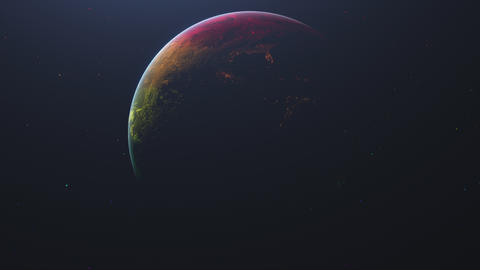 Colored stars. Rotating planet earth in outer space is shrouded in colorful stripes Animation