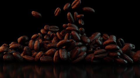 Coffee beans falling on the table on a dark background Animation