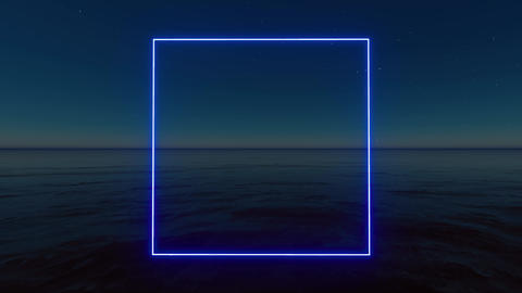 Blue neon rectangle on stars background. Glow effect. Led light. Neon flare Live Action