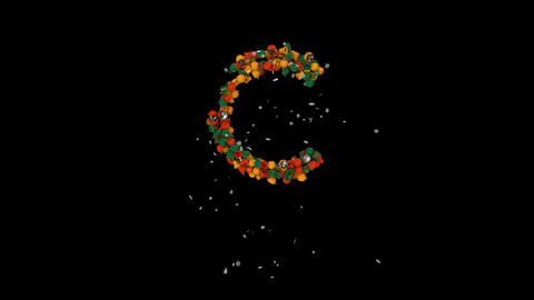 Holiday letters typography out of christmas ornaments animation with snow flakes clasic colorsC Animation