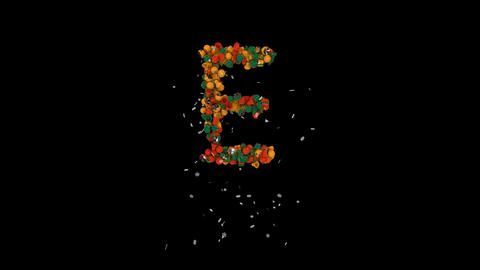 Holiday letters typography out of christmas ornaments animation with snow flakes clasic colorsE Animation