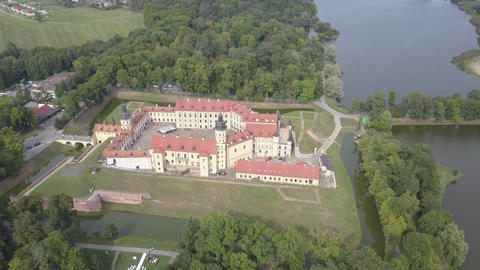 Amazing view of ancient Nesvizh castle in the ancient town of Nesvizh, Belarus Live Action