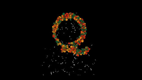 Holiday letters typography out of christmas ornaments animation with snow flakes clasic colorsQ Animation