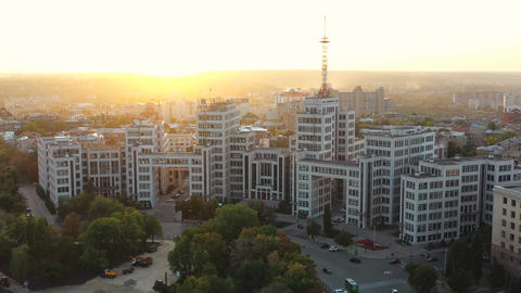 Flying over famous and historical building Gosprom of State Industry of Kharkov Live Action