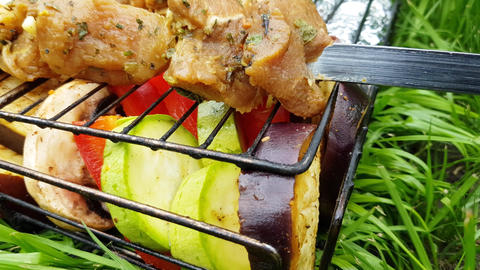 Raw pork meat on skewers and vegetables on the grill prepared for barbecue GIF