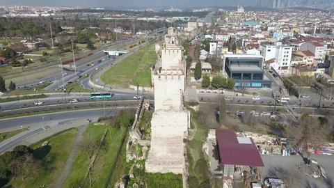 Walls of Constantinople. Ancient Defence Wall in Istanbul, Turkey, Aerial View Live Action