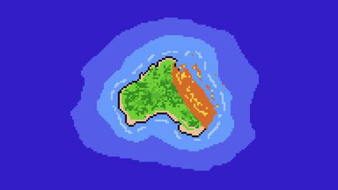 Australia Burning Animation illustrated in Pixel Art Animation