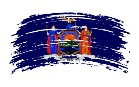 New York flag in grunge brush stroke, vector Vector