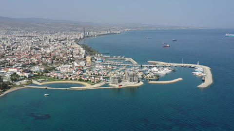 Cyprus Limassol Marina With Boats Aerial View Live Action
