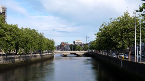 Central Dublin One way streets on both sides of river Live Action