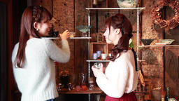 Young Japanese women checking art pieces in a glass workshop in Kawagoe, Saitama Footage