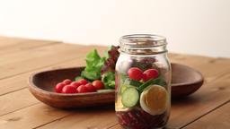 Preparing jar salad Footage