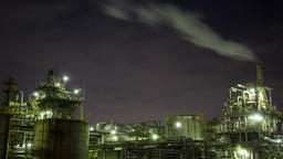 Time-lapse night view of Keihin Industrial Area, Japan Footage