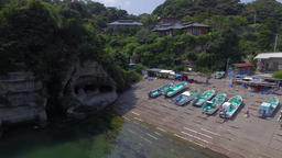 Aerial footage of a small port in Ubara coast, Chiba Prefecture, Japan Footage